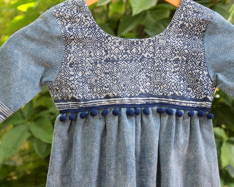 Scarlett,-,Little,Girls,Bohemian,Style,Dress,In,Chambray,Blue,With,Pom,Poms,Natural Childrens Clothing,Boho Dress,girls Bohemian dress,boho kids,little_girls_dress,bohemian_child,eco_friendly_clothes,Hmong_dress,hippie_chic,hippie_kids,ethnic_clothes,boho,girls_clothes,fair_trade,natural cotton,girls holiday dress,kid