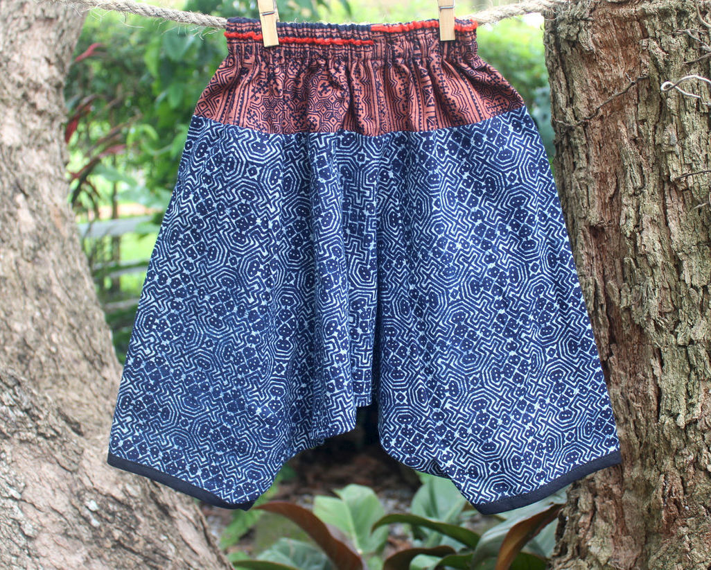 boho girls and boys harem pants in batik