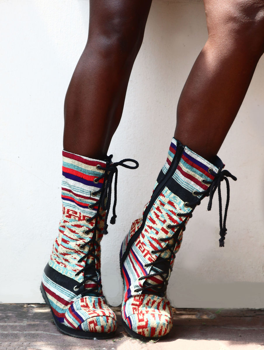 Britta Womens Combat Boot in Colorful Laos Embroidery - product images  of