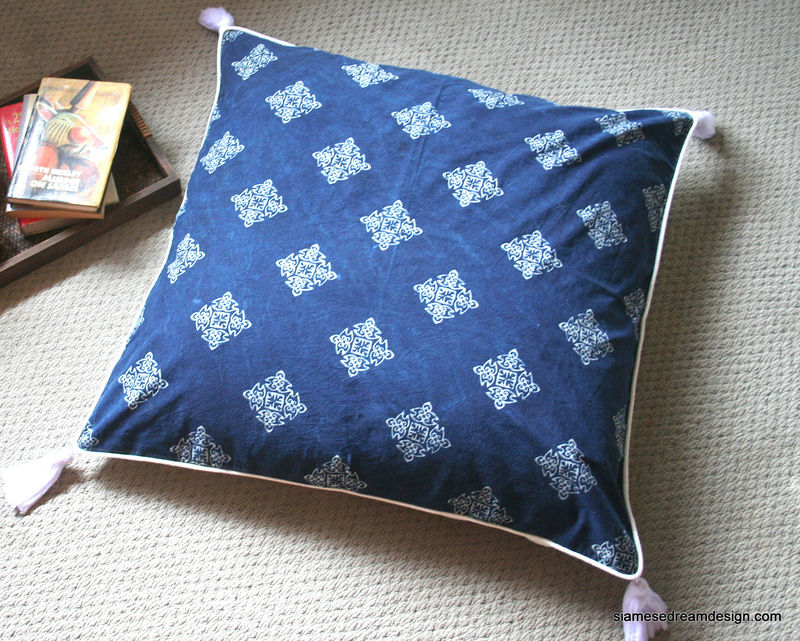 Eco Floor Pillows : Hmong Natural Indigo Batik 30