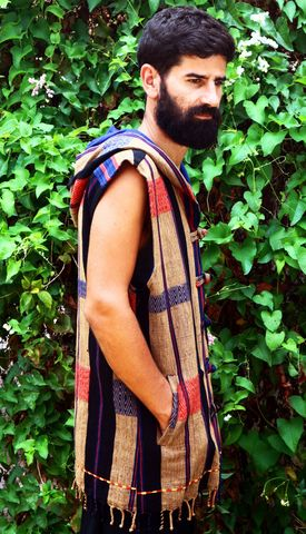 Derek,-,Tribal,Men's,Hoodie,Vest,In,Blue,mens hoodie vest, mens eco fashion, fall 2016 mens fashion, mens festival wear, black men's vest with hood, mens tribal vest, men's waist coat, burning man, boho mens fashion,