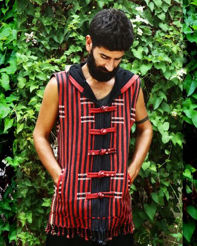 Derek,-,Tribal,Men's,Hoodie,Vest,In,Red,Ethnic,Naga,mens hoodie vest, mens eco fashion, fall 2015 mens fashion, mens festival wear, tan and blue men's vest with hood, mens tribal vest, men's waist coat, burning man, boho mens fashion,