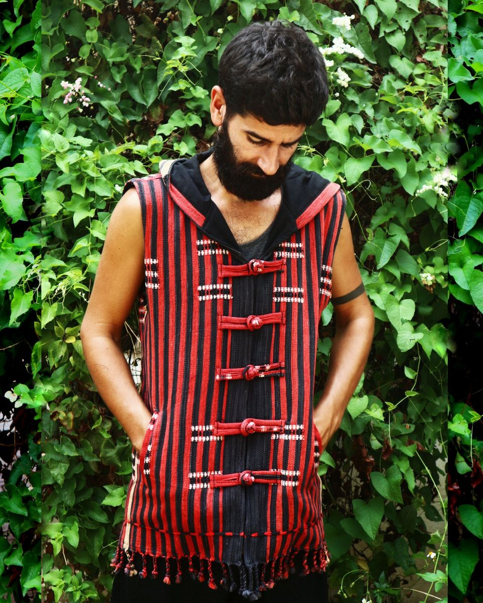 Ethical mens fashion clothing in hand woven textiles