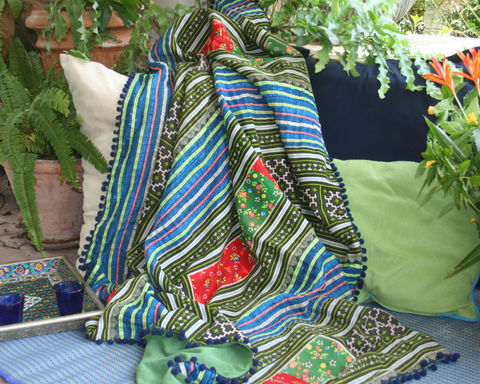 Boho,Throw,Blanket,-,Green,Hmong,Embroidery,With,Pom-pom,Trim,small Hmong blanket,Bohemian_decor,boho blanket,embroidered_throw blanket,boho picnic blanket,lap_blanket,green boho sofa_blanket,colorful sofa_throw,small Hmong_blanket,Original Hmong embroidered cotton,bohemian decor