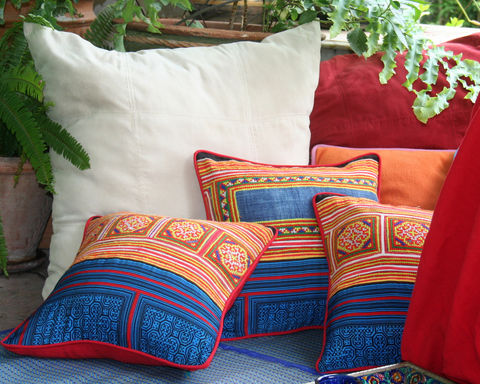 Bold,,Colorful,Boho,Pillows,in,Red,&,Yellow,Hmong,Embroidery,Embroidered Hmong Pillow,	Hmong Cushion, Ethnic Pillow, 16 inch throw pillow, batik, boho pillow, colorful pillow, siamese dream design, indigo batik, red yellow pillow, vintage Hmong, bohemian decor, colorful embroidered pillows, bright boho cushions, et