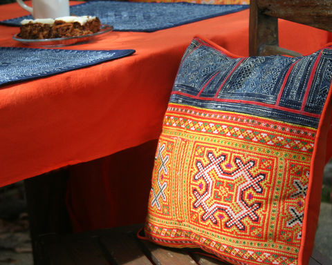 Colorful,Boho,Pillows,in,Vintage,Indigo,Batik,With,Bold,,Orange,&,Yellow,Hmong,Embroidery,Embroidered Hmong Pillow,	orange and yellow embroidered pillow, Hmong Cushion, Ethnic Pillow, 16 inch throw pillow, batik, boho pillow, colorful pillow, siamese dream design, indigo batik, orange & yellow pillow, vintage Hmong, bohemian decor, colorful em