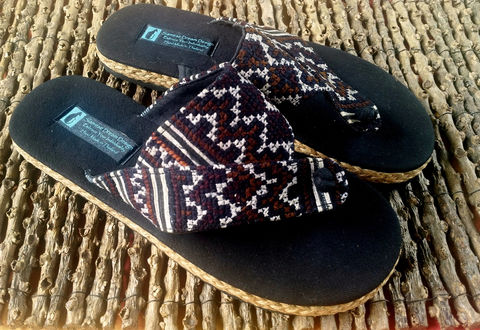 Novak,-,Men's,Handmade,Sandals,in,Earthy,Hmong,Embroidery,Clothing,Shoes,Men,Mens,Vegan,Flip_Flops,Embroidered,Hemp,Mens_Sandals,Mens_Vegan_Shoes,Hippie_Sandals,10_5_11,surfer_shoes,cotton,rubber sole,embroidery,hemp,batik