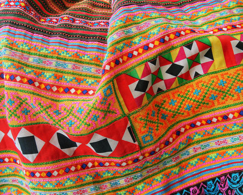 Throw,Blanket,-,Bohemian,Style,In,Hmong,Embroidery,small colorful Hmong blanket, Bohemian_decor,boho blanket,embroidered_throw blanket,boho picnic blanket,lap_blanket,green boho sofa_blanket,colorful sofa_throw,small Hmong_blanket,Original Hmong embroidered cotton,bohemian decor