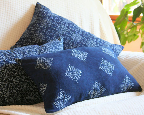 Indigo,Batik,Lumbar,Pillow,,Natural,Plant,Dye,In,3,Patterns,Housewares,Pillow,Embroidered,Hmong indigo batik,Cushion,Tribal,Hmong_Pillow,Hmong_Cushion,Pillow_Cover,Cushion_Cover,Ethnic_Pillow,Floor_Cushion,embroidery,Bohemian_pillow,decorative_pillow,large,cotton,applique,vintage indigo batik,Hmong embroidery