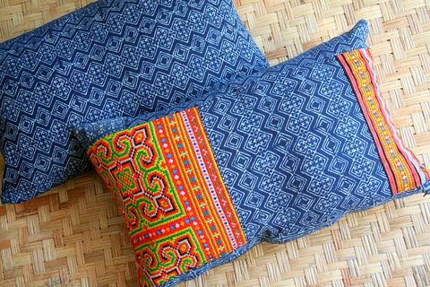 Indigo,Batik,Lumbar,Pillow,,Natural,Plant,Dye,With,Or,Without,Embroidery,Accents,Housewares,Pillow,Embroidered pillow,Hmong indigo batik,ethnic Cushion,Tribal,Hmong_Pillow,Hmong_Cushion,Pillow_Cover,Cushion_Cover,Ethnic_Pillow,Floor_Cushion,embroidery,Bohemian_pillow,decorative_pillow,large,cotton,applique,vintage indigo batik,Hmong e