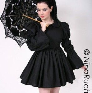 Black Gothic Lolita Dress with Peter Pan Collar Full Gathered Skirt and Long Full Sleeves - product images  of