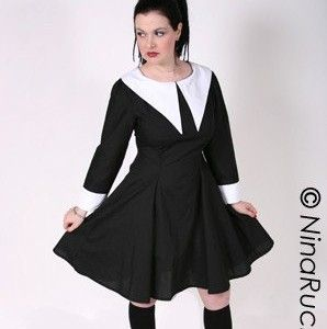 Gothic,Lolita,Cute,Lenore,Dress,Clothing,Women,gothic,lolita,loli,cute,kawaii,women,black,white,custom_size,plus_size,wednesday_aadams,cotton,thread,zipper