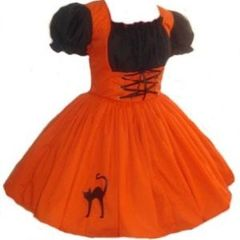 Cute,Witch,Halloween,Costume,Dress,Clothing,Gothic,halloween_costume,witch,dress,halloween,costume,cute_witch,orange,black,cat_applique,custom_size,plus_size,made_to_measure,womens,faux_leather,zipper,thread,elastic