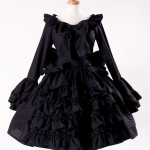 Black Gothic Lolita Goth Loli Cotton Dress and Detachable Bow - product images  of
