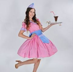 Retro,Soda,Shop,Waitress,soda shop waitress, car hop, dress, apron, hat, costume, halloween, plus size