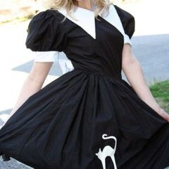 Cute,Salem,Witch,Dress,Halloween,Costume,Clothing,Gothic,halloween_costume,witch_costume,halloween_witch,witch_dress,womens_witch_costume,witch,halloween,costume,dress,black,white,plus_size,custom_size,cotton,faux_leather,thread,zipper