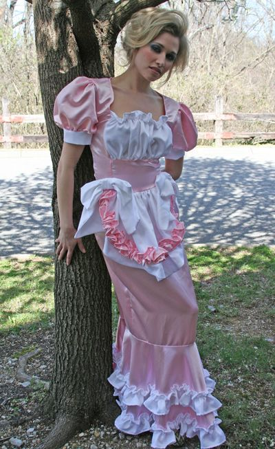 Long Floor Length Satin Ruffled Hobble Skirt Sissy Bows Dress - product images  of