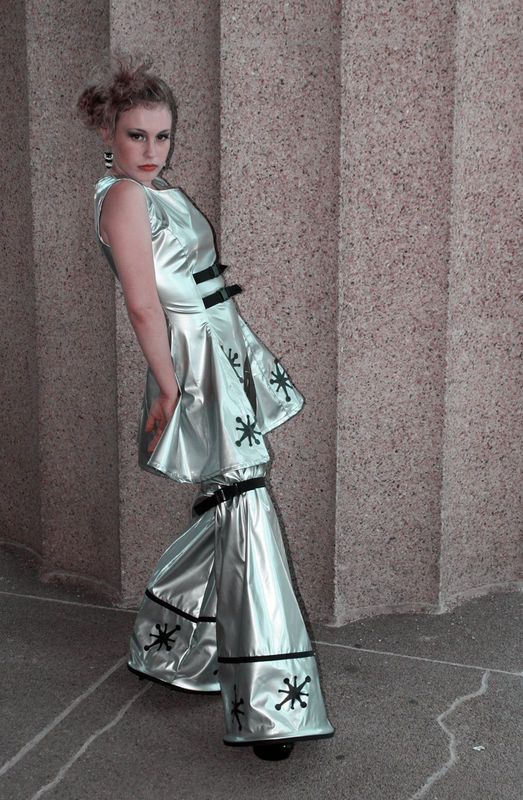 Cyber Sci Fi Retro Rocket Space Cadet Mini Dress and Legwarmers - product images  of