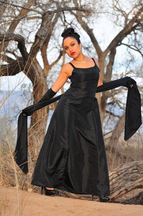 Gothic Wedding Gown Sleeveless Empire Waist Dress with Long Sash - product images  of