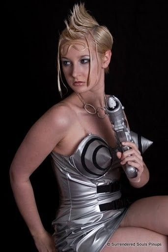 Sexy Barbarella Retro Sci-Fi Silver Vinyl Cone Bullet Bra Wiggle Dress - product images  of