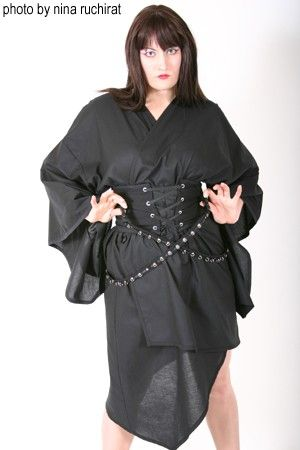 Asymmetric Black Gothic Kimono and Lace up Corset Belt with Buckled Grommet Bondage Straps - product images  of