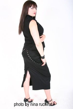 Black Pencil Skirt and Mandarin Collar Top with Buckled Grommet bondage  Straps - product images  of