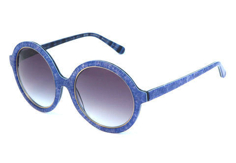 Denim,Print,Circular,Frame,Sunglasses,Heidi London, Blue Denim Circular Frame Sunglasses