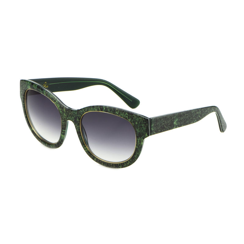 Denim Print Square Frame Sunglasses -Forest Green - Heidi London