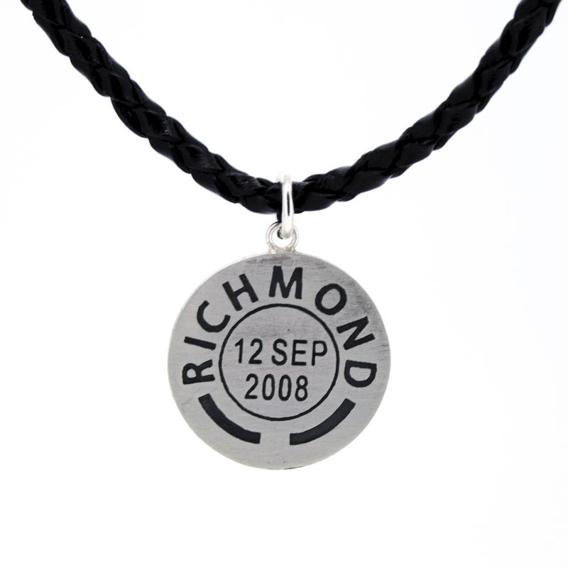 Personalised Leather Postmark Pendant - product images  of