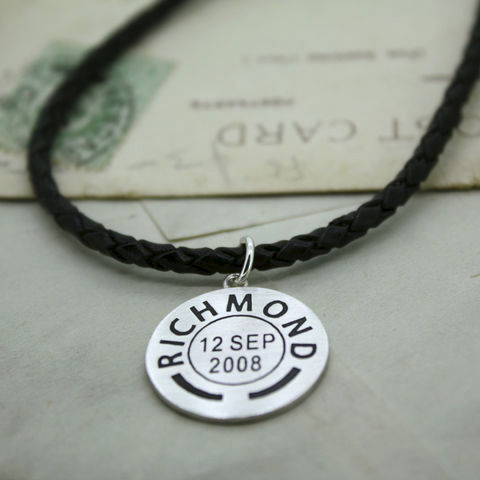 Personalised,Leather,Postmark,Pendant,Leather pendant, personalised pendant, place and date pendant, mens pendant