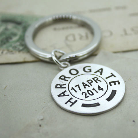 Personalised,Postmark,Keyring,Personalised keyring, place and date keyring