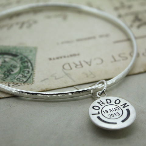 Personalised,Postmark,Bangle,Personalised Bangle, Silver Name Bangle