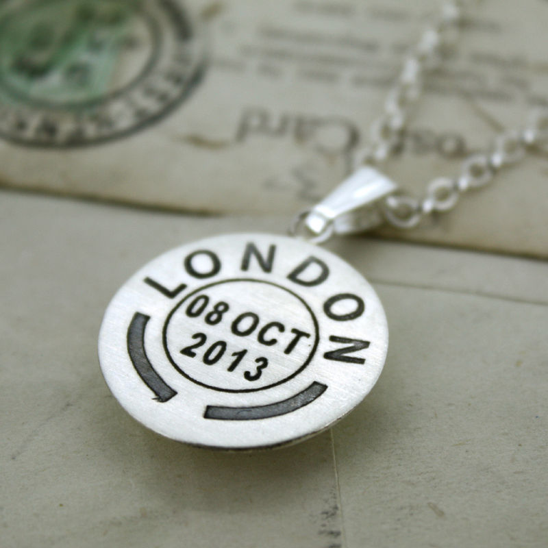 Personalised Large Postmark Pendant - product images  of
