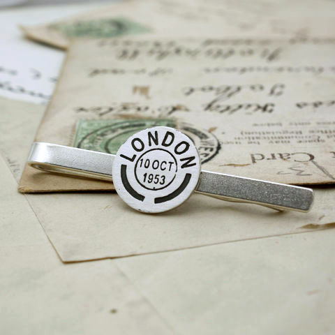 Personalised Postmark Tie Clip - product images  of