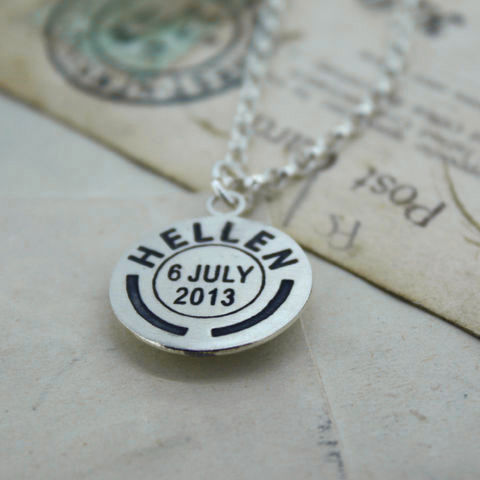 Personalised,Medium,Postmark,Pendant,Personalised pendant, silver name pendant