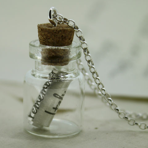 Personalised,Sterling,Silver,Handwritten,Message,In,A,Bottle,Pendant