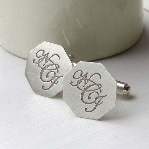 Silver,Monogram,Cufflinks,Monogram cufflinks, personalised cufflinks, cuff links, initial cufflinks, personalised gift for him