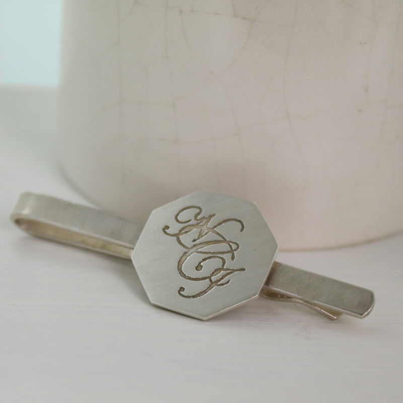 Silver Monogram Tie Slide - product images  of