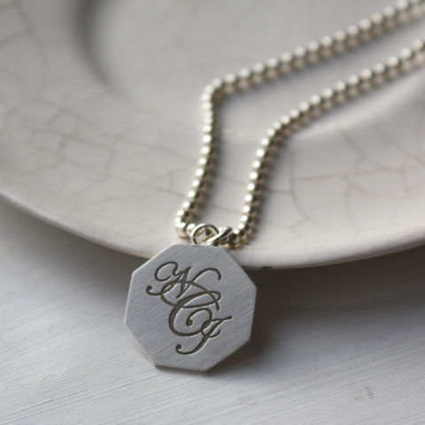 Silver,Monogram,Necklace,Monogram necklace, monogram pendant, personalised necklace, initial pendant