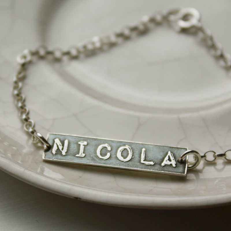 Personalised Silver Name Label Bracelet - product images