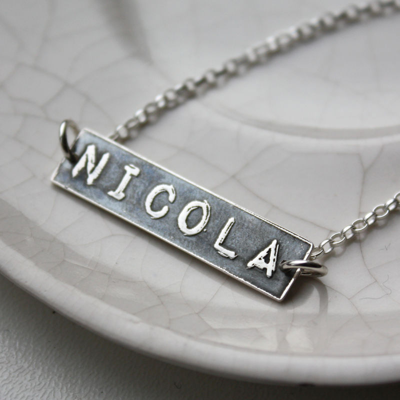 Personalised Silver Name Label Necklace - product images  of