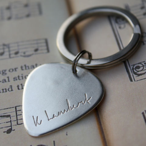 Personalised,Signature,Plectrum,Keyring,personalised keyring, plectrum gift, handwriting on silver, guitar lover gift, music lover gift