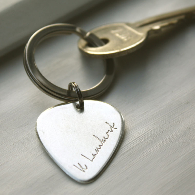 Personalised Signature Plectrum Keyring - product images  of
