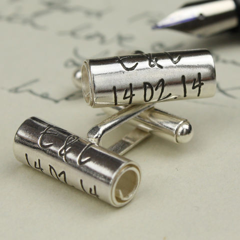 Personalised,Handwritten,Scroll,Cufflinks,Personalised silver cufflinks, handwriting on silver, personalised gift for men
