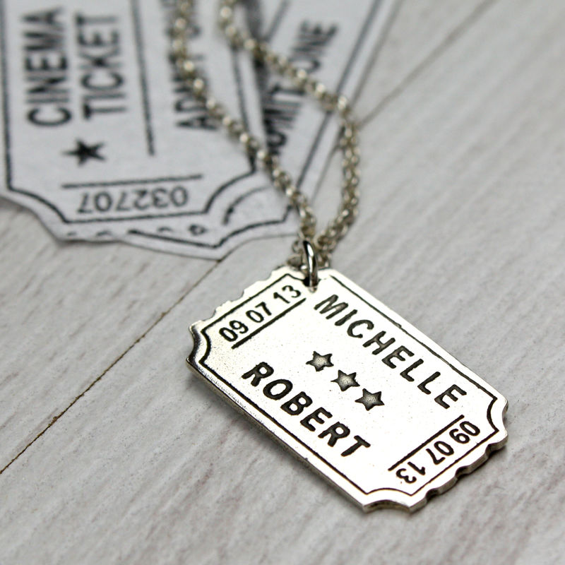 Personalised Silver Cinema Ticket Pendant - product images  of