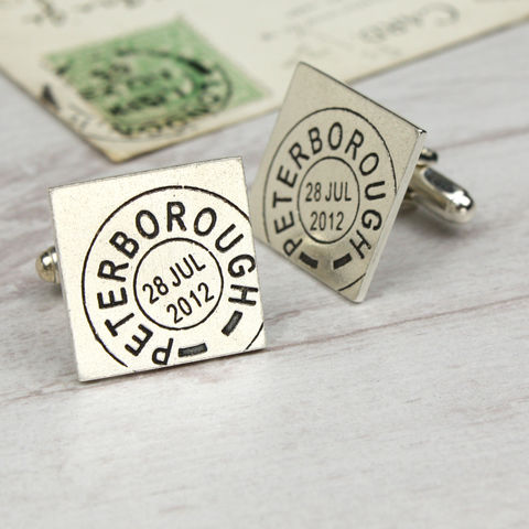 Personalised,Square,Postmark,Cufflinks