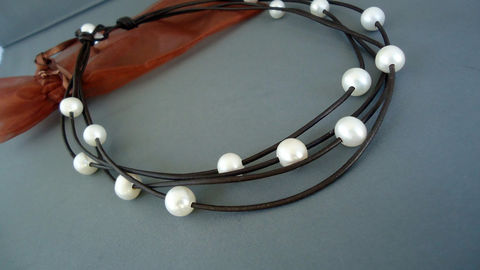 Leather,and,pearls,on,multiple,strands,necklace,Jewelry,Beach_bridal,iseadesigns,leather,leather_and_pearls,pearls_necklace,leather_necklace,layers_necklace,freshwater_pearls,cultured_pearls,leather_pearls,pearls_and_leather,seaside,chic_jewelry,cultured pearls