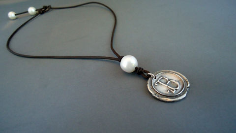 Pearl,on,leather,fine,Silver,Vintage,Wax,Sea,Initial,Jewelry,Pendant,Metalwork,pearls_and_leather,wax_seal_monogram,initials,fine_silver,leather_and_pearls,monogram,personalized_jewelry,initial_pendant,cultured_pearl,isea_designs,999_fine_silver,wax_seal_pendant,Argentinian leather,cultured pearl,fi