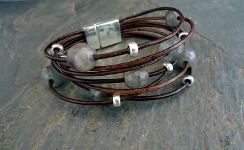 Leather,Bracelet,Sterling,Silver,Bracelet,,faceted,Labradorite,,Multi,Strand,Boho,Chic,Jewelry,Bracelet,leather,leather_bracelet,sterling_silver,labradorite_bracelet,leather_cuff,iseadesigns,sterling__bracelet,silver_bracelet,beaded_bracelet,wrapping_bracelet,boho_bracelet,sterling silver,labradorite,metal