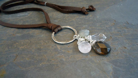 leather,and,semiprecious,stones,necklace,Jewelry,Necklace,sterling_silver,rose_quartz,sterling_and_leather,metal_work,infinity_circle,iseadesigns,wire_wrapped,rings,leather_necklace,suede_leather,silver_necklace,crystal_necklace